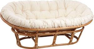 Aubry-Gaspard - canapé papasan en rotin avec coussin écru 2 places - 2 Seater Sofa