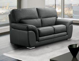 WHITE LABEL - cloe canapé cuir vachette 2 places gris foncé - 2 Seater Sofa