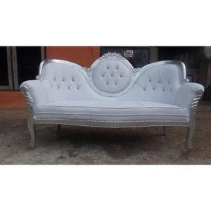 DECO PRIVE - canapé de mariage revêtement blanc et bois argenté - 2 Seater Sofa