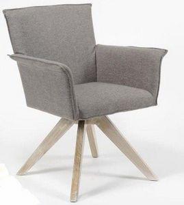 WHITE LABEL - fauteuil pivotant jacob design gris avec piétement - Armchair