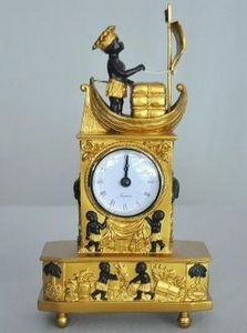 Demeure et Jardin - pendule empire navire francais - Antique Clock