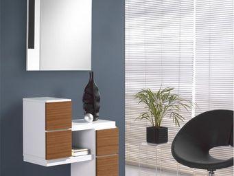WHITE LABEL - meuble d\'entrée blanc/noyer + miroir - fernuda - -