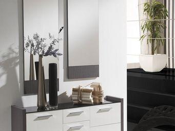 WHITE LABEL - meuble d\'entrée blanc/cendre + miroirs - millesi -