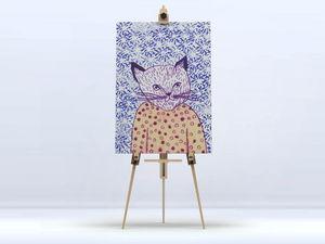 la Magie dans l'Image - toile mon petit chat fond bleu - Digital Wall Coverings