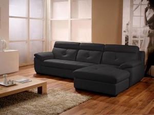 WHITE LABEL - canapé cuir angle dana - Adjustable Sofa