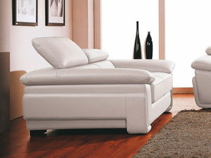 WHITE LABEL - canapé cuir 2 places sena - 2 Seater Sofa