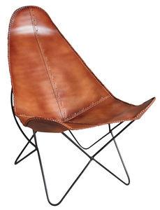 Aubry-Gaspard - fauteuil papillon en métal et cuir - Armchair