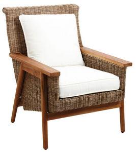 Aubry-Gaspard - fauteuil en poelet gris antique et teck - Armchair