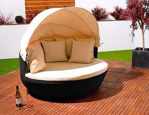Abode Interiors - garden rattan love sofa black - Double Sun Lounger