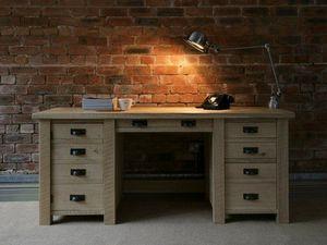 Indigo Furniture - riven oak double desk - Desk