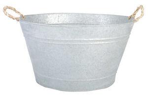 Esschert Design - jardinière bassine en zinc patiné à poser 48x37x28 - Tub