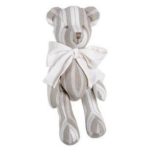 Maisons du monde - ourson noud beige rayé - Soft Toy