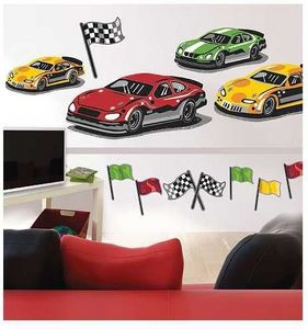 Wallies - stickers repositionnables course de voitures - Sticker