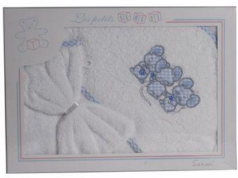 SIRETEX - SENSEI - coffret cape de bain+ gant brodés 3 souris bleues - Hooded Towel