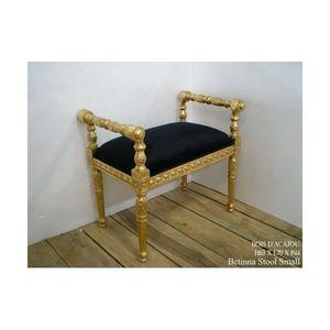 DECO PRIVE - banquette baroque dore et velours noir betina peti - Bed Bench
