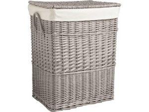 Aubry-Gaspard - corbeille à linge en osier gris 46x34x60cm - Storage Basket