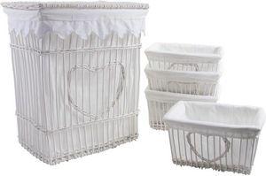 Aubry-Gaspard - panier à linge et 4 corbeilles coeur en osier et c - Storage Basket