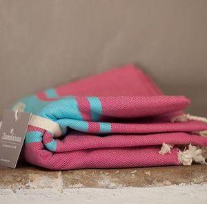 Zandaraa - fouta plate framboise et turquoise - Fouta Hammam Towel