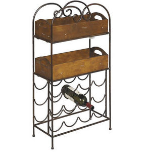Aubry-Gaspard - casier de rangement 12 bouteilles en métal et pin  - Bottle Rack