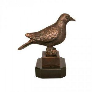 Demeure et Jardin - oiseau en bronze sur base marbre - Animal Sculpture