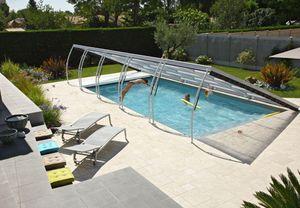 Abri piscine POOLABRI - plat relevable  - Low Removable Pool Enclosure