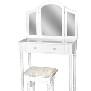 WHITE LABEL - coiffeuse avec miroir + tabouret inclus - Dressing Table