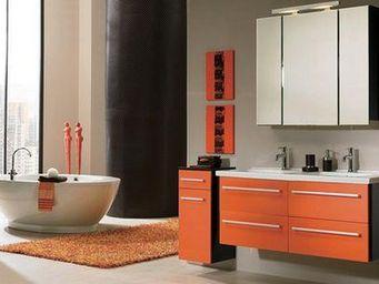 UsiRama.com - meuble salle de bain 2 vasques noir et orange - Double Basin Unit