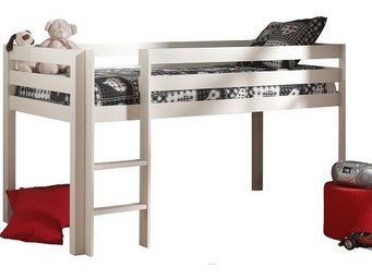 WHITE LABEL - lit mi haut pino en pin vernis blanc couchage 90 x - Mezzanine Bed Child