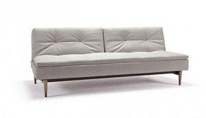 INNOVATION - canapé design dublexo couleur lin pieds noyer fonc - Futon