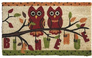 Aubry-Gaspard - paillasson hiboux bienvenue 75x45cm - Doormat