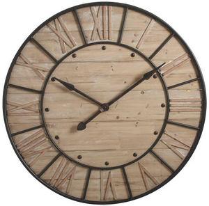 Aubry-Gaspard - horloge murale en métal et bois industrie 91x6cm - Wall Clock
