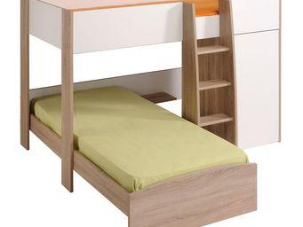WHITE LABEL - lit superposé 90*200 cm blanc/bois - majolan - l 2 - Children Bunk Bed