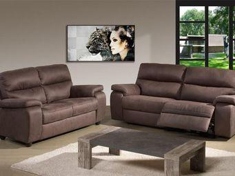WHITE LABEL - canapé relax électrique 3p + canapé relax électriq - 2 Seater Sofa