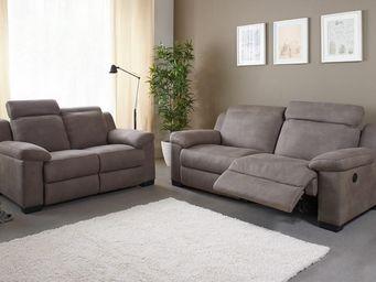 WHITE LABEL - canapé 3p relax électrique + canapé 2p - nerb - l - 2 Seater Sofa