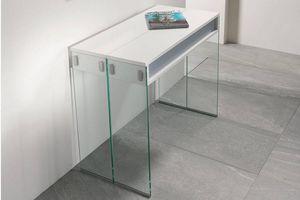 WHITE LABEL - console extensible stef chêne blanc piétement en v - Extendible Desk