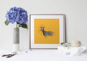 la Magie dans l'Image - print art chevreuil orange - Poster
