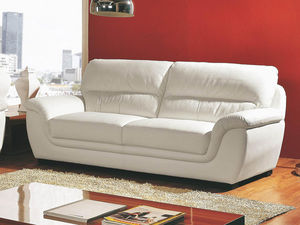 WHITE LABEL - canapé cuir 3 places kalmia - 3 Seater Sofa