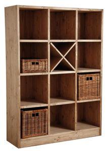 Aubry-Gaspard - bibliothèque 12 cases en épicéa ciré miel - Open Bookcase