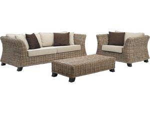 Aubry-Gaspard - ensemble salon 4 pièces en rotin - Garden Furniture Set