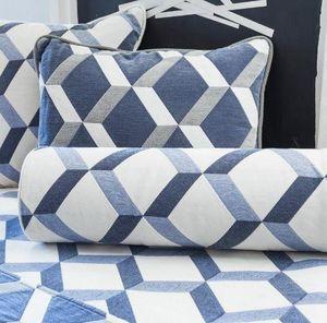 Ybarra & Serret - blue square - Square Cushion