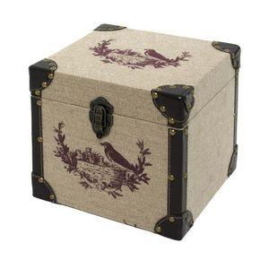 CHEMIN DE CAMPAGNE - coffre malle de rangement bois toile de jute 25x25 - Trunk