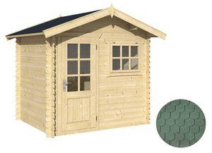 jardindeco - abri de jardin en bois lubéron bardeau arrondi ver - Wood Garden Shed