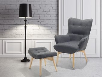 BELIANI - fauteuil - Armchair And Floor Cushion
