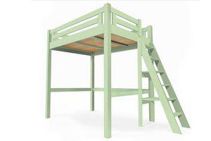ABC MEUBLES - abc meubles - lit mezzanine alpage bois + échelle hauteur réglable vert pastel 120x200 - Mezzanine Bed