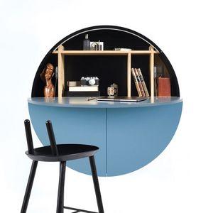 EMKO - pill - bureau mural bleu / noir 30.5 x ø 110 cm - Suspended Office