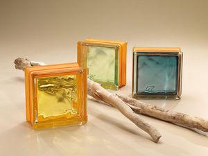 Rouviere Collection - terminale double aquamarine métallisée - Curved End Glass Block