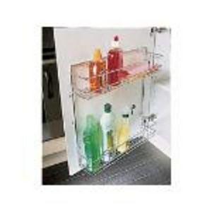 Cupboard door mounted storage rack
