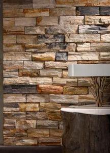 Bleu Nature - lamelles de bois pétrifié - Wall Covering