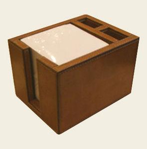 Mufti - havana leather memo block - Square Note Cube
