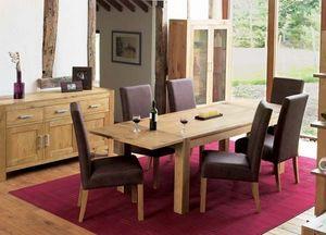 Art Glass - lyon oak dining room set - Living Room Furniture
